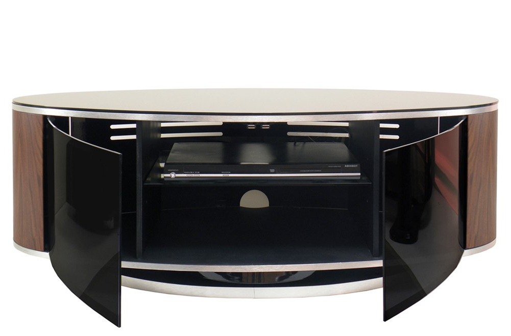 Black Gloss Corner Tv Stand For Most Up To Date Mda Luna High Gloss Black & Walnut Oval Tv Cabinet (View 13 of 20)