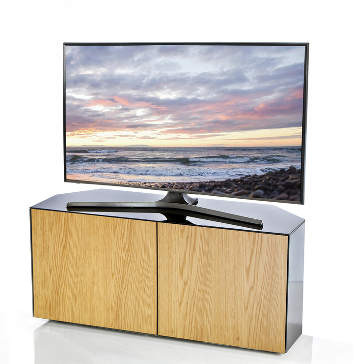 Black Gloss Corner Tv Stand In Recent High Gloss Black And Oak Corner Tv Cabinet 110Cm With Wireless Phone (Gallery 14 of 20)