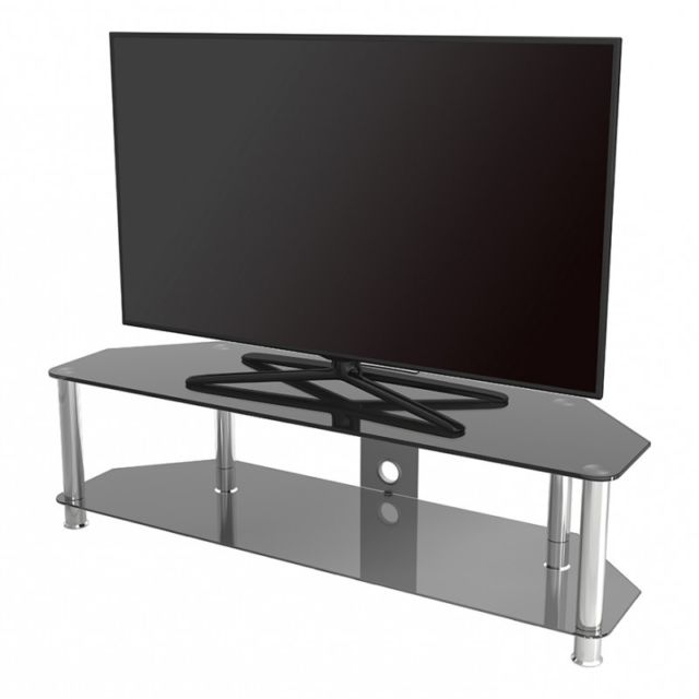 Black Gloss Glass Large Tv Stand Suitable For Lcd Led Tvs 140Cm 37 Throughout Recent Tv Stands For Large Tvs (View 5 of 20)