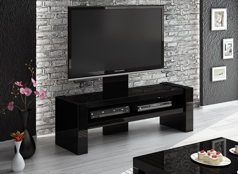 Black Gloss Tv Benches Pertaining To Trendy Davos Black Tv Stand (View 3 of 20)