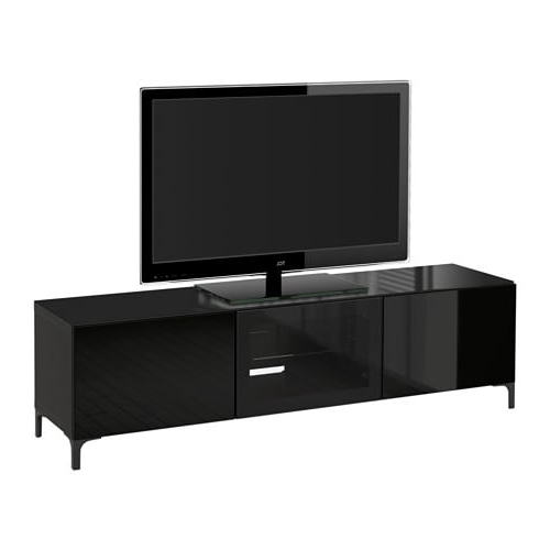 Black Gloss Tv Benches Throughout Widely Used Bestå Tv Bench With Doors – Black Brown/selsviken High Gloss/black (Gallery 1 of 20)