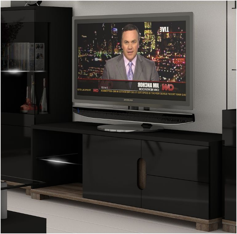 Black Gloss Tv Cabinets Pertaining To Most Current Lorenz Black High Gloss Tv Cabinet With Lights – Wow (View 18 of 20)