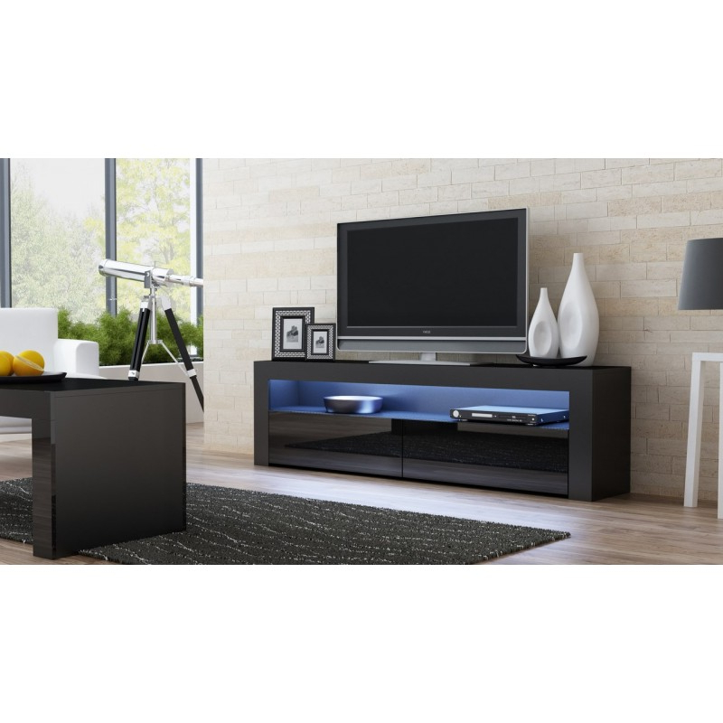 Black Gloss Tv Stand – Milano 157 – Concept Muebles Regarding Fashionable Black Gloss Tv Stands (View 1 of 20)