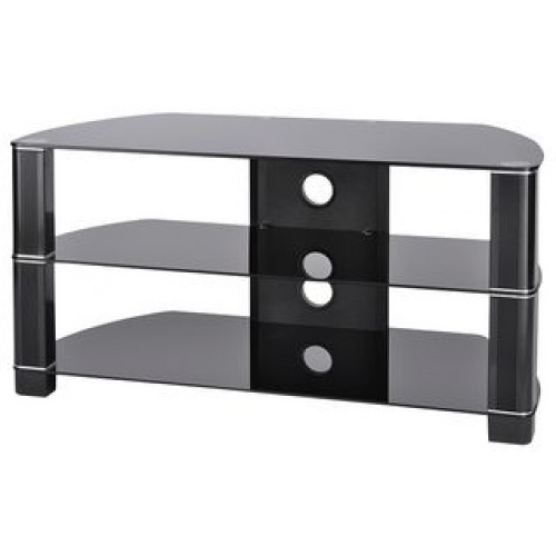Black Gloss Tv Stand With Black Glass – Tv Stands – Brackets & Furniture Within Most Popular Black Glass Tv Stands (View 4 of 20)