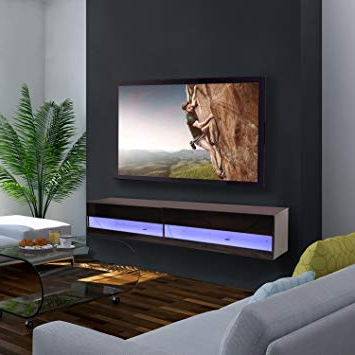Black Gloss Tv Wall Units Inside Latest Homcom 180Cm High Gloss Wall Mounted Tv Stand Cabinet: Amazon.co.uk (Gallery 19 of 20)