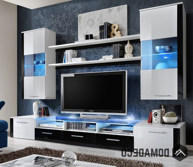 Black Gloss Tv Wall Units Regarding Well Liked Lumia 4 – High Gloss White / Black Wall Unit (View 4 of 20)