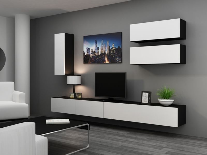 Black Gloss Tv Wall Units Throughout Favorite High Gloss Tv Cabinet / Tv Wall Unit / Tv Stand 'viva 13' (View 5 of 20)