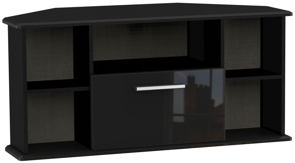 Black High Gloss Corner Tv Unit Intended For Well Known Buy Welcome Living Room Furniture High Gloss Black 1 Drawer Corner (Gallery 1 of 20)