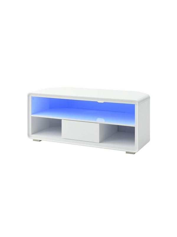 Black High Gloss Corner Tv Unit With Regard To Current Cosmos Curved High Gloss Corner Tv Unit – Holds Up To 50 Inch Tv (View 5 of 20)