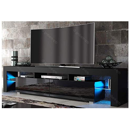 Black Tv Cabinets With Doors For 2018 Black Gloss Tv Stand: Amazon.co.uk (Gallery 10 of 20)