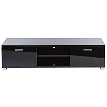 Black Tv Cabinets With Doors For Latest Amazon: Mmt Black Gloss Floor Tv Stands Cabinet – For 32 42 50 (Gallery 18 of 20)