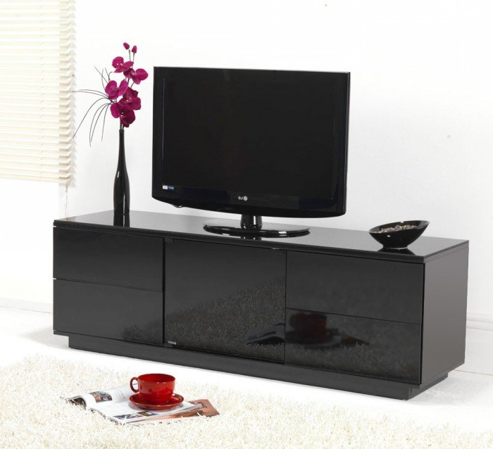Black Tv Cabinets With Doors Throughout Most Popular Uk Cf Ultimate London Gloss Black Assembled Tv Cabinet To Suit (View 6 of 20)
