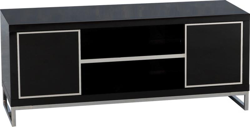 Black Tv Cabinets With Doors With Regard To Well Known Charm Black High Gloss 2 Door Tv Unit W120Cm X D45Cm X H50Cm (View 8 of 20)