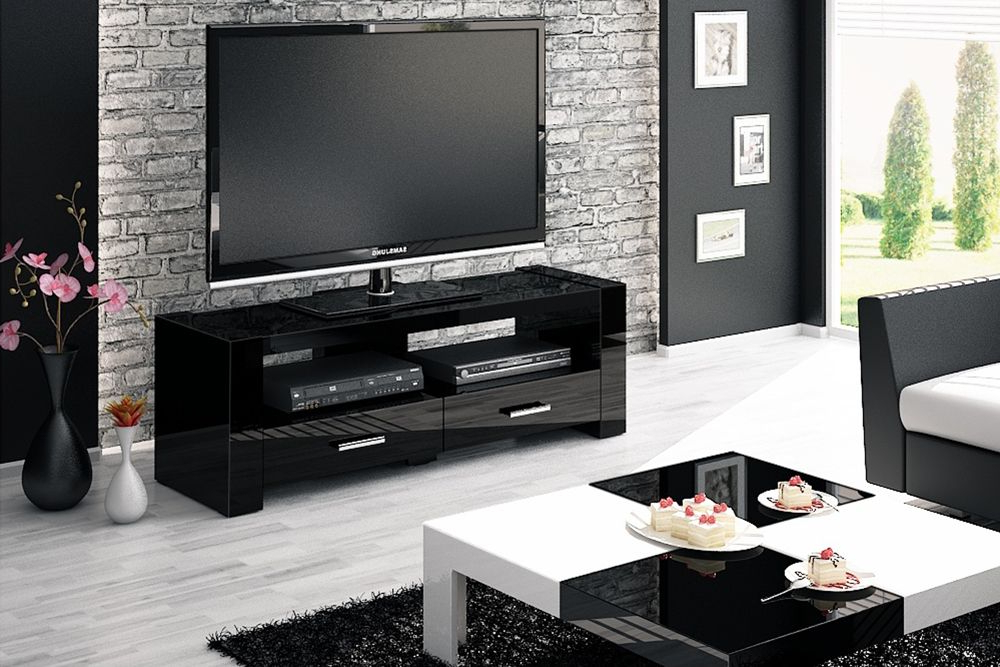 Black Tv Cabinets With Drawers Intended For Most Recent Monaco 2 Black Tv Stand (View 5 of 20)