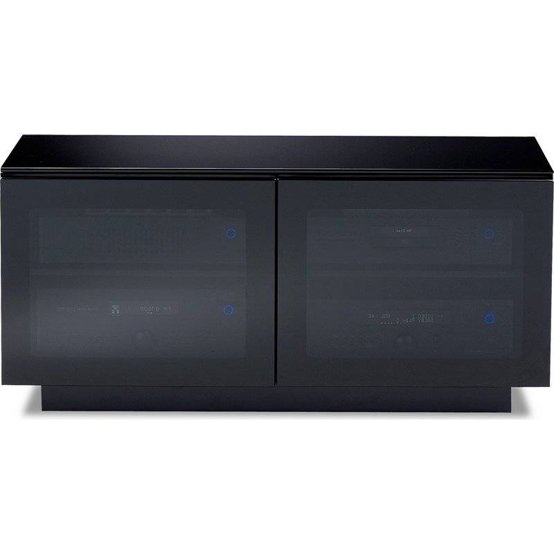 Black Tv Stand With Glass Doors Pertaining To Famous Bdi Bdi Mirage 8224, Tv  Cabinet, Black With Grey Tinted Glass Doors (Gallery 14 of 20)