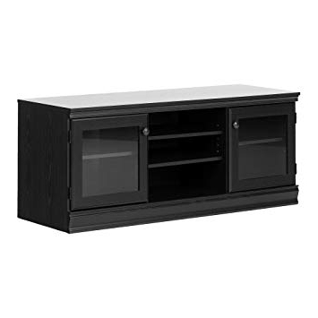 Black Tv Stand With Glass Doors With Regard To Well Liked Amazon: South Shore Morgan Tv Stand With 2 Glass Doors For Tvs (View 8 of 20)
