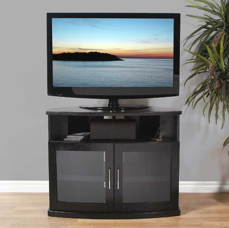 Black Tv Stand With Glass Doors Within Widely Used Plateau Newport Series Corner Wood Tv Cabinet With Glass Doors For (View 5 of 20)