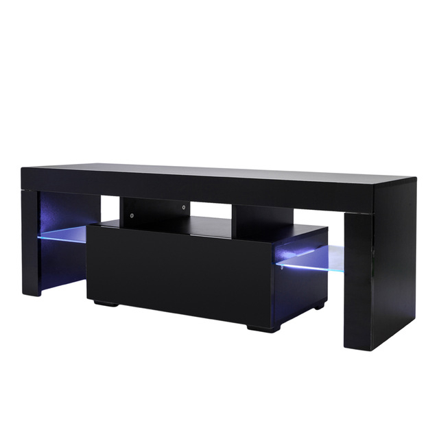Black Tv Stands With Drawers Intended For Favorite Tv Stand Unit Cabinet Console With Led Light Shelves 1 Drawers For (View 6 of 20)