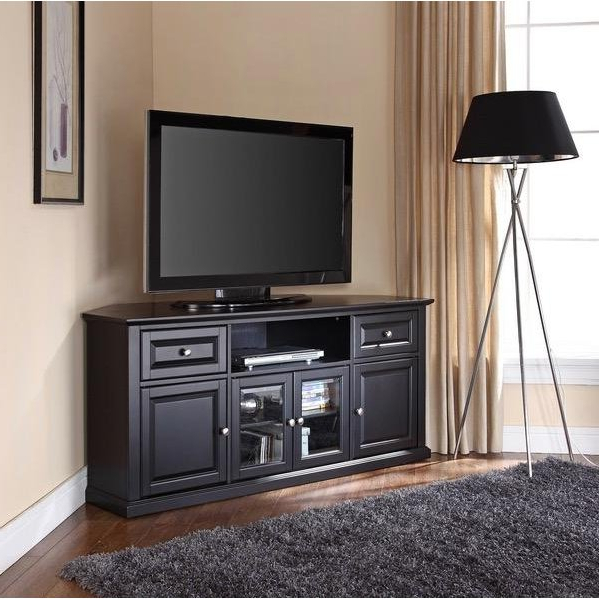 Black Wood Corner Tv Stands Pertaining To Favorite Black 60 Inch Corner Tv Stand (Gallery 9 of 20)