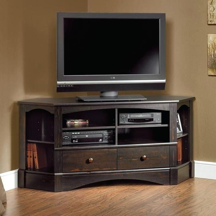 Black Wood Corner Tv Stands Pertaining To Most Recently Released Brown Corner Tv Stand Dark Wood Corner Stand Table Surprising Wood (View 8 of 20)