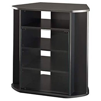 Black Wood Corner Tv Stands With Regard To Favorite Amazon: Bush Furniture Visions Tall Corner Tv Stand In Black (View 10 of 20)