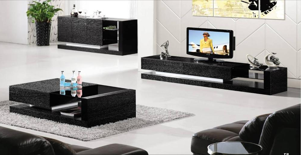 Black Wood House Furniture, 3 Piece Set: Coffee Table,tv Cabinet And With Trendy Tv Stand Coffee Table Sets (View 1 of 20)