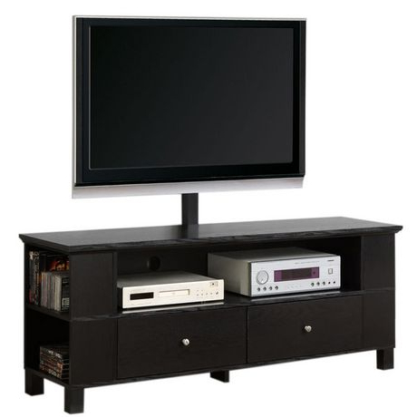 Black Wood Tv Stand With Storage And Mount (View 2 of 20)