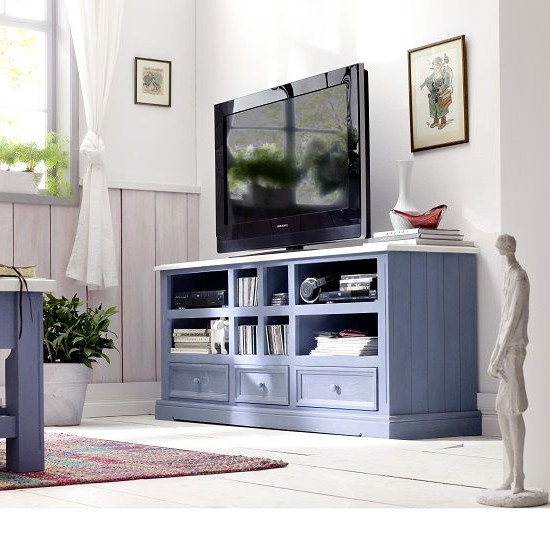 Blue Tv Stands With Fashionable Falcon Tv Stand In Pine Wood In Blue And White (View 9 of 20)