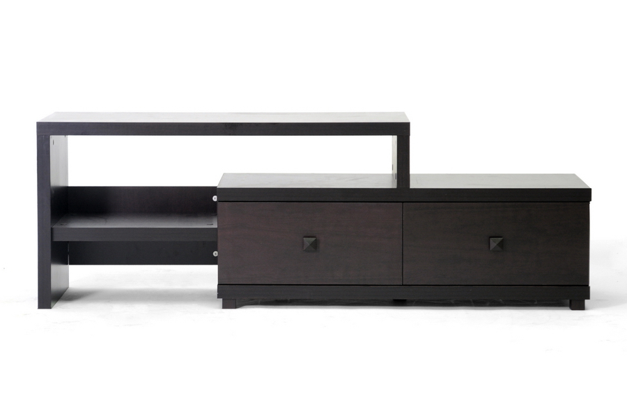 Blythe Modern Asymmetrical Tv Stand Dark Brown Regarding Most Recent Contemporary Wood Tv Stands (Gallery 6 of 20)