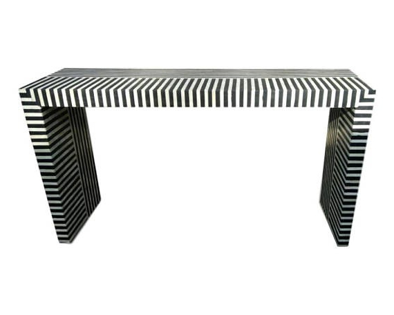 Bone Inlay Console Table Zebbra Design – Console Tables / Desks Throughout Fashionable Black And White Inlay Console Tables (View 10 of 20)
