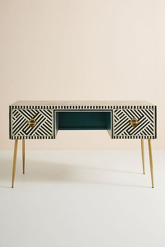 Bone Inlay Two Drawers Console Table In Black & White Stripe With Within Popular Black And White Inlay Console Tables (View 11 of 20)