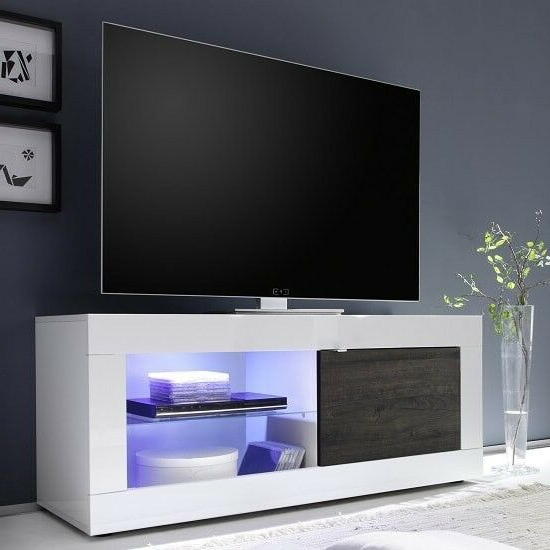 Brand New Designer Dolcevita White Gloss Tv Stand With Wenge Door Intended For Newest White Gloss Tv Cabinets (View 20 of 20)
