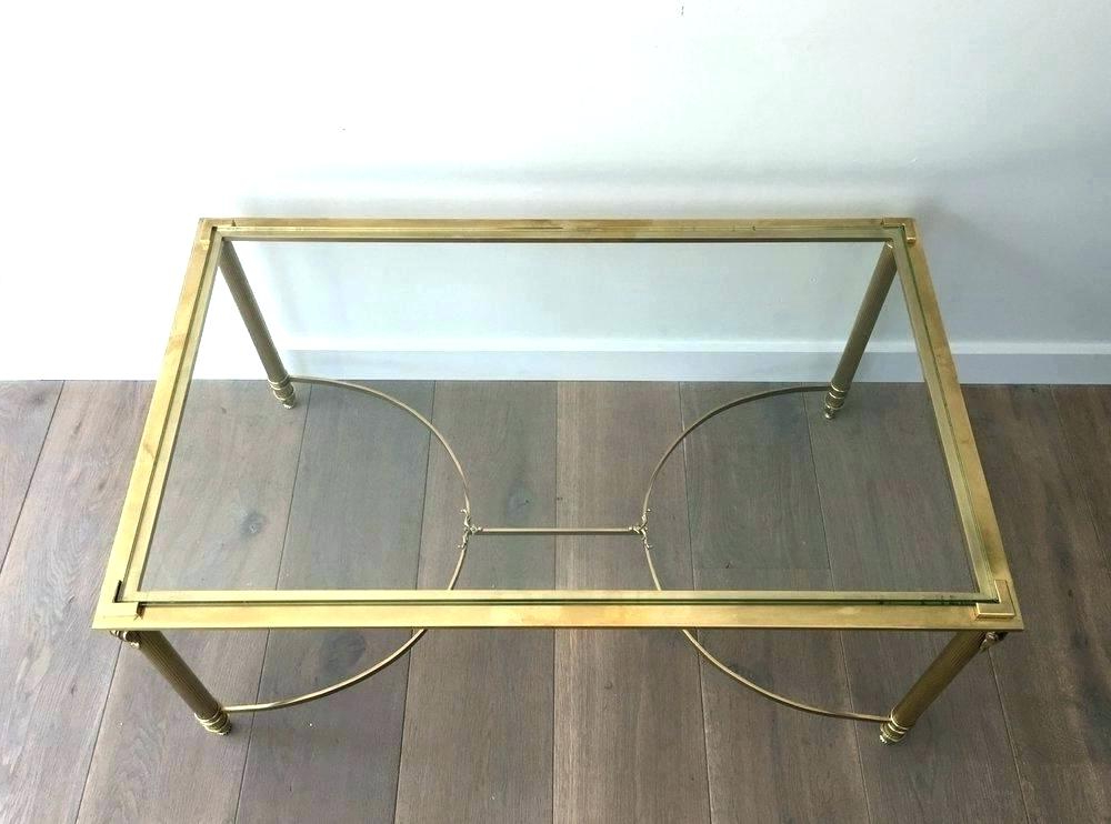 Brass Base Glass Top Coffee Table Modern Style Round Key For Sale At Within Favorite Elke Glass Console Tables With Brass Base (View 19 of 20)