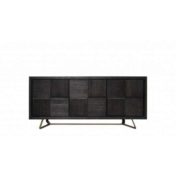 Burnt Oak Metal Sideboards Throughout Preferred Sierra Sideboard Cabinet In Burnt Oak Wood Top And Matte Black Legs (View 6 of 20)