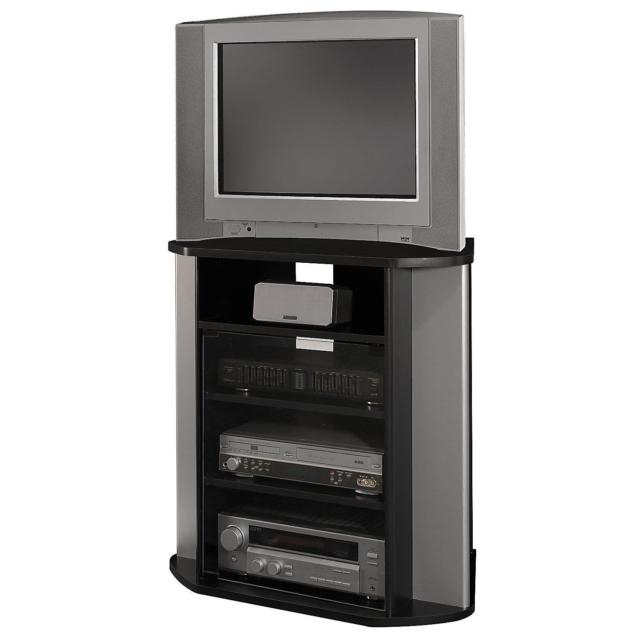 Bush Furniture Visions Corner Tv Stand Black/silver (View 11 of 20)