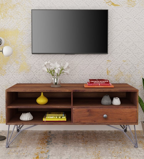 Buy Ferme Solid Wood Tv Unit With Drawer In Premium Acacia Finish With Regard To Recent Tv Drawer Units (Gallery 19 of 20)