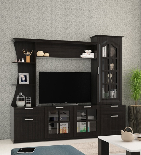 Buy Kosmo Madarin Wall Tv Unit In Natural Wenge Melamine Finish Throughout Most Recently Released On The Wall Tv Units (View 5 of 20)