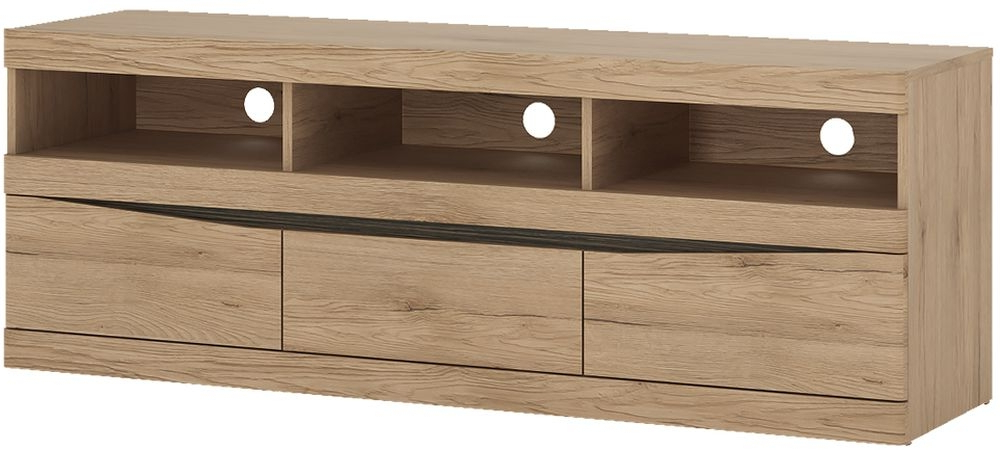 Buy Trieste Oak Tv Unit – Wide 3 Drawer Online – Cfs Uk Within Widely Used Wide Oak Tv Units (Gallery 4 of 20)