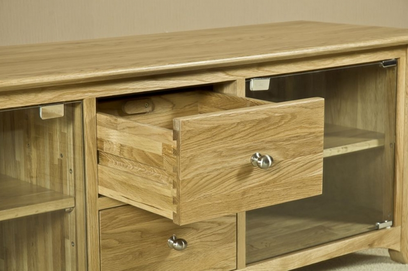 Buy Tuscany Solid Oak 2 Door 2 Drawer Large Glass Tv Unit Online In Most Recent Oak Tv Cabinets With Doors (View 3 of 20)
