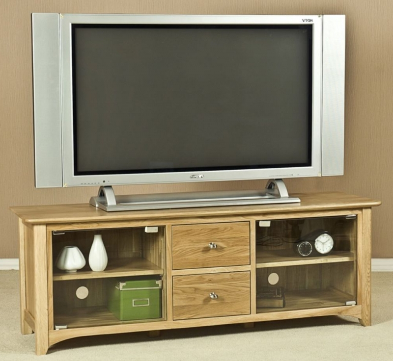 Buy Tuscany Solid Oak 2 Door 2 Drawer Large Glass Tv Unit Online Throughout Preferred Glass Tv Cabinets With Doors (View 3 of 20)