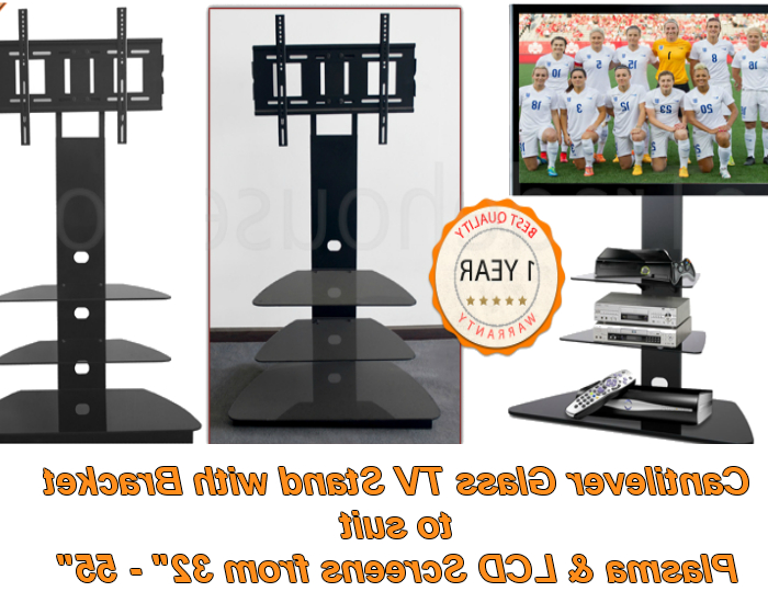 Cantilever Glass Tv Stands With Most Up To Date Cantilever Glass Tv Stand With Swivel Bracket – 85cm Cantilever Tv (View 13 of 20)