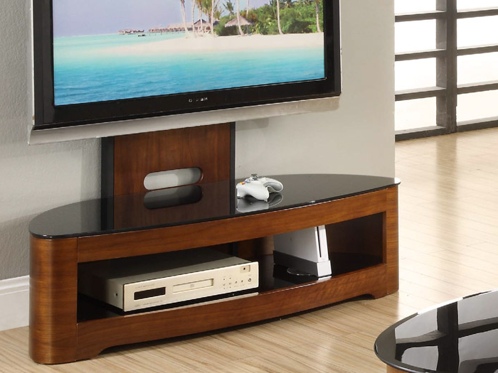 Cantilever Glass Tv Stands Within Current Contour Cantilever Tv Stand In Walnut (View 16 of 20)