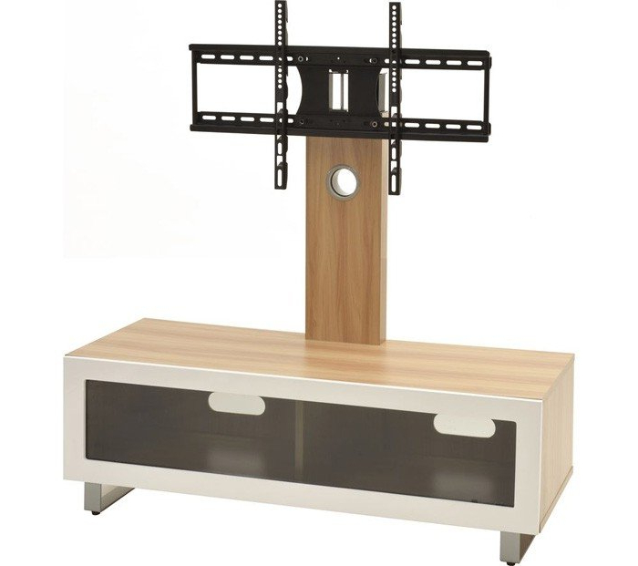Cantilever Tv Stands In Popular Ttap Tvs1002 Oak Cantilever Tv Stand With Bracket (View 3 of 20)
