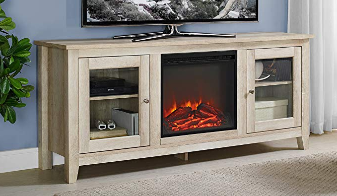 Casey Umber 74 Inch Tv Stands Regarding Most Recently Released Amazon: We Furniture Az58Fp4Dwwo Fireplace Tv Stand, White Oak (View 6 of 20)