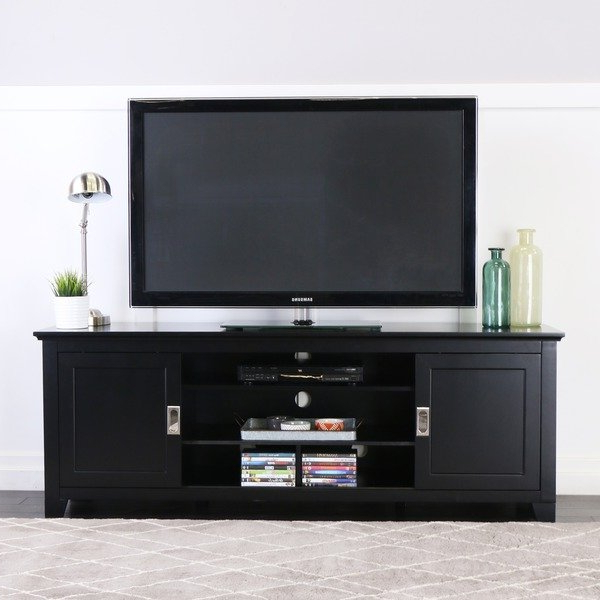 "Century Sky 60 Inch Tv Stands With Trendy Shop 70"" Tv Stand Console With Sliding Doors – Black – 70 X 18 X 25H (View 9 of 20)"