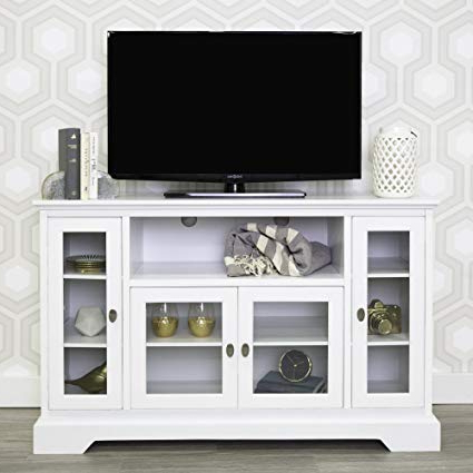 "Cheap White Tv Stands Pertaining To Most Popular Amazon: We Furniture 52"" Wood Highboy Style Tall Tv Stand (Gallery 8 of 20)"
