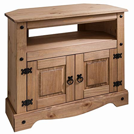 Cheap Wood Tv Stands Inside Latest Corona Wooden Tv Stand Corner Unit Cabinet – Solid Wood: Amazon (View 2 of 20)