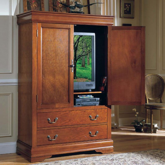 Cherry Tv Armoire Within Trendy Shop Claremont Cherry Tv Armoire – Free Shipping Today – Overstock (View 8 of 20)