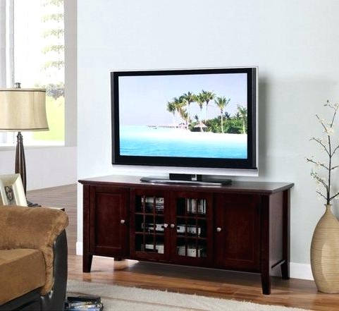 Cherry Tv Stands Intended For Latest Cherry Tv Stands Get Quotations A Dark Finish Wooden Media Console (View 6 of 20)
