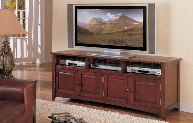 Cherry Tv Stands Regarding Popular Cherry Finish Classic Plasma Or Lcd Tv Stand W/storage Cabinet (Gallery 19 of 20)